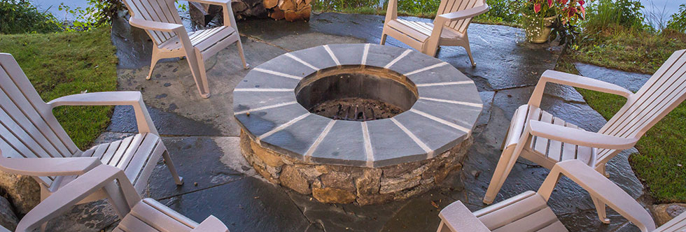 Firepit and hardscape circle