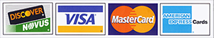 We accept Discover, Visa, MasterCard, and AMEX