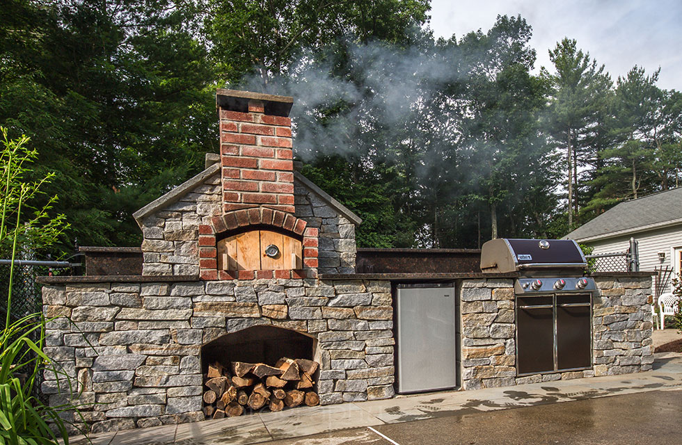 Outdoor fireplace and cooking range in Charlton, MA